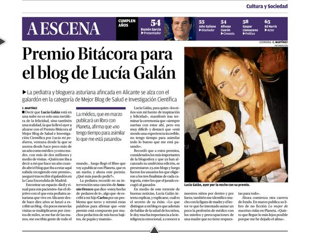 Diario Información dando la noticia del galardón.